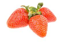 isolated sweet red fresh strawberry - stock photo