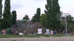 Basketball at Mauerpark Stock Footage