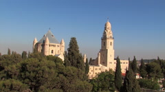 Dormitian Abbey and the Old City Jerusalem Skyline Stock Footage