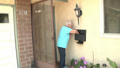 Old Senior Woman Getting Mail from Mailbox Bills Check Daily Life Retirement Stock Footage
