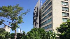 Building with the image of Fidel Castro in Havana, Cuba. Stock Footage