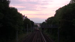 Train at evening at berlin Stock Footage