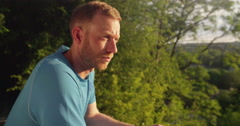 Attractive male runner with focus and determination to run Stock Footage