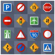 Road traffic signs flat icons set - stock illustration