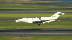 Private jet, Cessna Citation X landing Stock Footage