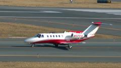 Private jet Cessna taxies, after airport arrival Stock Footage