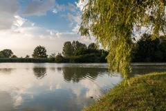 Public park in Ferrara city with a lake during a sunny day Stock Photos