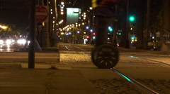 Segway PT tours at night in San Francisco California - stock footage