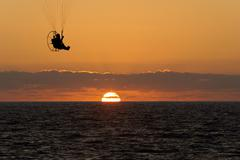 Paraglider Sunset - stock photo