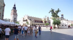 Cracow Main Square, City Hall, Cloth Hall Stock Footage