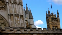 Palace of Westminster, Houses of Parliament, with Great Britain flag Stock Footage