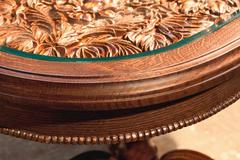 carved table of handwork - stock photo