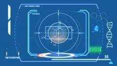 2d SCIFI HUD screen. Guizmo scan Stock Footage