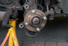 Wheel hub - brake disk and caliper removed - stock photo