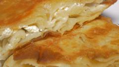 Burek Serbian fast food made from dough and cheese 4K 2160p UHD video - Burek Stock Footage