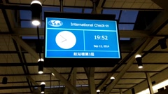 Motion of internation check-in timeline schedule board Stock Footage