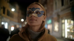 Woman in Carnival Mask Walking in Venice, Italy Stock Footage