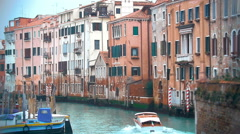 Motor Boat Sailing along the Water Canal in Venice, Italy Stock Footage