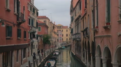 Water Canal and Sidewalk Surrounded with Houses in Venice, Italy Stock Footage