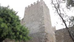 São Jorge Castle square tower Stock Footage