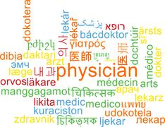 Physician multilanguage wordcloud background concept - stock illustration