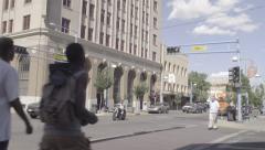Downtown Albuquerque - Pedestrians Crossing - Traffic - Tilt - 4k Stock Footage