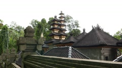 Pagodas in Pura Gunung Lebah, view from outside temple, slide shot. Stock Footage