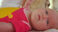 Nice Cute Young Baby Close up Stock Footage