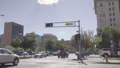 Downtown Albuquerque - Central & 3rd - Traffic - Pan - 4k Stock Footage