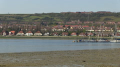 Low Tide Paulsgrove Lake and Port Solent in Hampshire Stock Footage