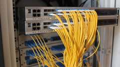Fiber-optic equipment in a data center Stock Footage