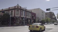 Downtown Albuquerque - Sport Car - Pan - 4k Stock Footage