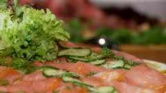 Salmon in a restaurant Stock Footage