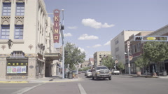 Downtown Albuquerque - Kimo Theater - Traffic - Pan Stock Footage