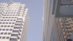 Downtown Albuquerque - Tall Buildings - Low Angle - Pan Stock Footage