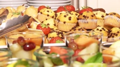 Dessert decorated dessert with mint leafs. Stock Footage