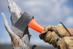 Hands of woodchopper with axe on wood Stock Photos