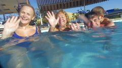 Big Family in Swimming Pool Stock Footage