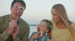 Family of three with hipster glasses and moustache Stock Footage