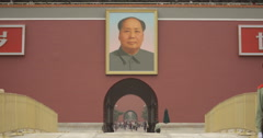 video of the Forbidden City entrance with Portrait of Mao Zedong above Stock Footage