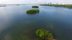 Miami Biscayne Bay island Aerial video 4 - stock footage
