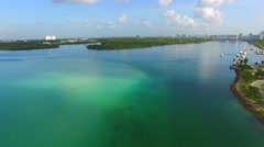 Aerial video of Haulover park and marina Stock Footage