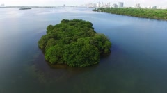 Miami Biscayne Bay island Aerial video 5 - stock footage
