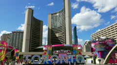 Toronto Nathan Philips Square City Hall Wide Stock Footage