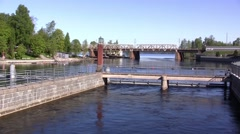 Näsijärvi and Tammerkoski Rapids, Tampere, Finland - stock footage