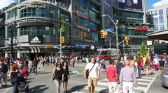 Yonge Dundas Square Intersection Crosswalk People Stock Footage