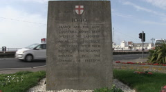 War Memorial Southsea Seafront and South Parade Pier in Hampshire Stock Footage