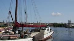 Classic sailboat in Skeppsholmen Stockholm Sweden Stock Footage