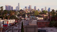 Los Angeles Skyline from Sunset Blvd. Roof Top - stock footage