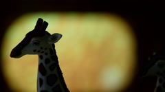 A figure of a giraffe on display - stock footage